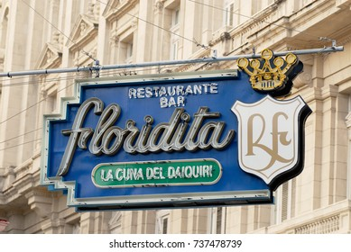 HAVANA, CUBA - OCTOBER 21, 2006: Sign of the historic Floridita bar in Havana, Cuba. Floridita was one of the favorite bars of Ernest Hemingway during his stay in Havana.