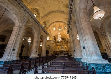 HAVANA, CUBA - OCTOBER 23, 2017: Havana Old Town and Cathedral Interior