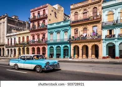 HAVANA, CUBA - OCTOBER 8, 2016 :  Old Havana downtown Street