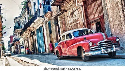 HAVANA, CUBA- SEP 16, 2016: old american car parked with havana