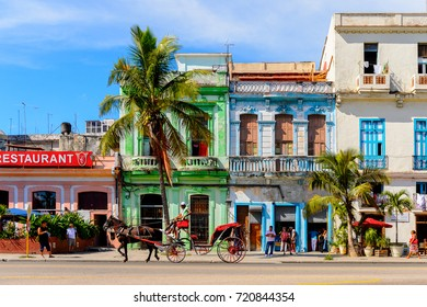 HAVANA, CUBA - SEP 5, 2017: Colorful architecture of the Atlantic coast of  Havana, the capital of Cuba