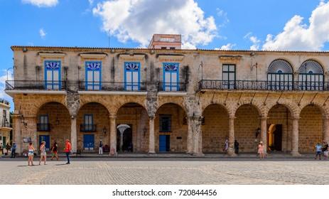 HAVANA, CUBA - SEP 5, 2017: Plaza de la Catedral, the Old Havana. UNESCO World Heritage