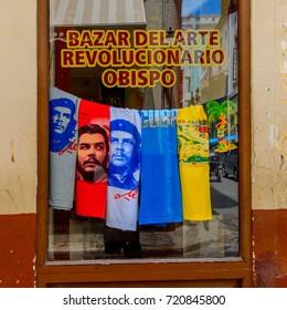 HAVANA, CUBA - SEP 5, 2017: Che Guevara shirts in Old Havana. UNESCO World Heritage