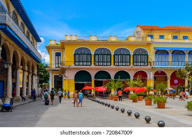 HAVANA, CUBA - SEP 5, 2017: Architecture of  the Plaza Vieja in Old Havana. UNESCO World Heritage