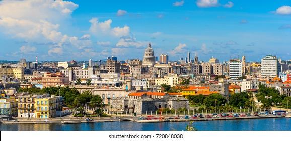 HAVANA, CUBA - SEP 5, 2017: Panoramic view of Havana, the capital of Cuba