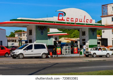 HAVANA, CUBA - SEP 5, 2017: Acapulco gazoline station of Havana, the capital of Cuba