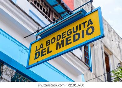 HAVANA, CUBA - SEP 5, 2017: La Bodega del Medio, one of the popular touristic attractions in Havana, Cuba