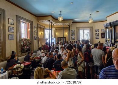 HAVANA, CUBA - SEP 5, 2017: El Floridita, a historic fish restaurant and cocktail bar La Habana Vieja, Cuba