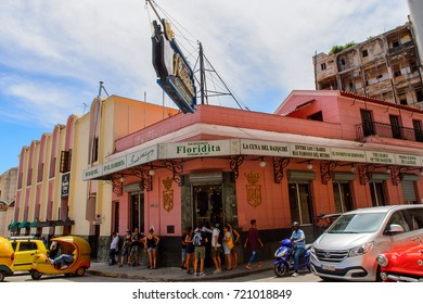 HAVANA, CUBA - SEP 5, 2017: El Floridita, a historic fish restaurant and cocktail bar La Habana Vieja, Cuba