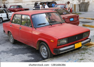 Havana, Cuba - September 04, 2007: old Rissian car Lada 2107