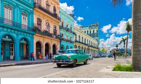 Havana, Cuba - September 14, 2016: American green Chevrolet classic car drives on the main road in Havana Cuba City before the Capitolio - Serie Cuba Reportage