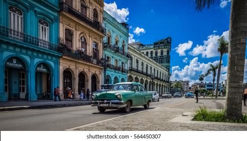 Havana, Cuba - September 14, 2016: HDR - Street scenery on the main street in Havana Cuba - Serie Cuba Reportage