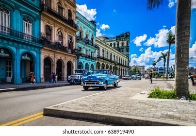 Havana, Cuba - September 14, 2016: HDR - American blue 1954 Chevrolet Bel air classic car drives on the main road in Havana Cuba - Serie Cuba Reportage