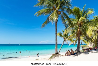Havana, Cuba - September 19, 2018: Cuban dream beach with palms in Varadero - Serie Cuba Reportage