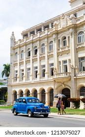 Havana, Cuba - September 2018:  street scene with classic car