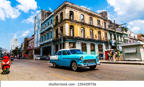 Havana, Cuba. Vintage classic American car in on the streets of the vibrant city.