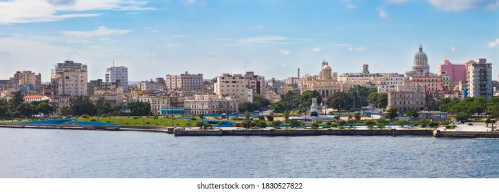 Havana, Cuba-07, 2016. Close up view of the historical old Havana city with famous buildings, colonial style architecture, monuments and entrance from the street to the Havana Tunnel.