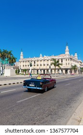 HAVANA, CUBA-FEBRUARY 22, 2019: American classic car in Havana downtown.