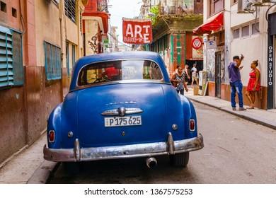 HAVANA, CUBA-FEBRUARY 22, 2019: Old Havana streets cityscape.