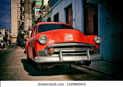 HAVANA, CUBA-JUL 13, 2016: old american car of the 50s parked on a street in Havana for repairs