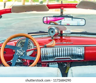 Havana, Cuba-July 9, 2018: Old vintage car dashboard. This kind of car is used in the capital city as a tourist ride. Cuban is well know for the amount of vintage cars that still runs in its streets
