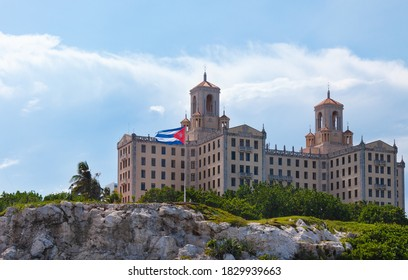 Havana, Cuba-October 07, 2016. Close up view of Hotel Nacional de Cuba, historic Spanish eclectic style hotel in Havana city. Located on the sea front of the Vedado district, view from the Malecon.