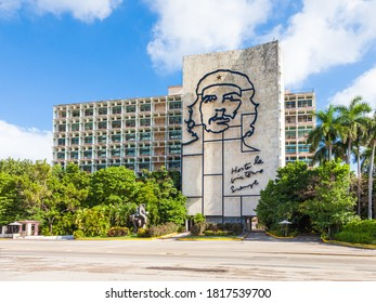 Havana, Cuba-October 07, 2016. Iron mural, face of Che Guevara on the Ministry of the Interior building at the Revolution Square on October 07, 2016 in Havana, Cuba.