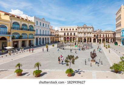 Havana, Cuba-October 8, 2016. View of Old Square Plaza Vieja surrounded by colonial buildings on October 8, 2016 in old part of de La Habana.