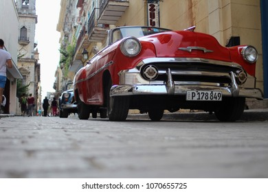 Havana, Cuba-Sep 1st 2017: Headlight on the old,red,beautiful car;bottom view