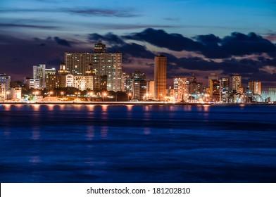 Havana (Habana) at night, view from the Morro and Cabana Castles, across the La Habana bay