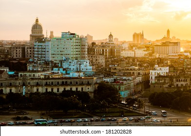 Havana (Habana) in sunset, view from the Morro and Cabana Castles, across the La Habana bay