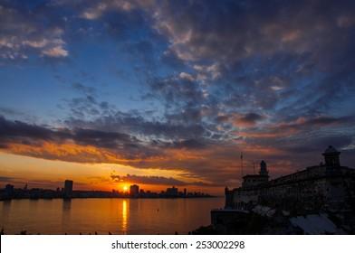 Havana (Habana) in sunset, view from the Morro and Cabana Castles, across the La Habana bay