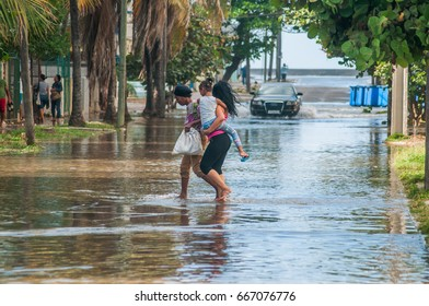 HAVANA - JAN 23 2017 - A rare weather combination of winds and sea causes a sudden flooding on coastal areas in Havana city.
