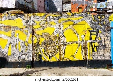 HAVANA, JAN 26: Street art in Callejon de Hamel on January 26, 2015 in Havana, Cuba. Popular tourist spot El Alley Hamel ('Callejon de Hamel) is a solo project of a local artist Salvador Gonzalez