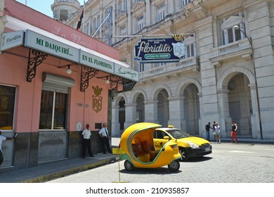 HAVANA - July 31: the exterior of the El Floridita restaurant and bar in Havana, Cuba on July 31, 2014. The Floridita is an iconic historic bar in Havana famous for Hemingway and daiquiris.