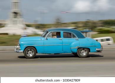 Havana, La Habana/ Cuba - Jan 27 2018: Old Cars in Havana (panning effect)