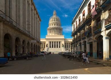 Havana, La Habana/Cuba - January 27, 2018: Streets of Havana - Capitol