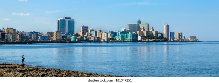 Havana Malecon - view of the Centre and Vedado. Panorama of Havana's, Cuba.
