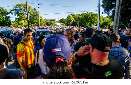HAVANA - NOV 28 2016 - Cubans congregates at Revolution Square to say the last farewell to the main leader of Cuban Revolution, Fidel Castro. Castro passed away on NOV 25 2016.