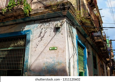 Havana, Republic of Cuba - 16.11.2017: Colorful house with sign that says Cuba