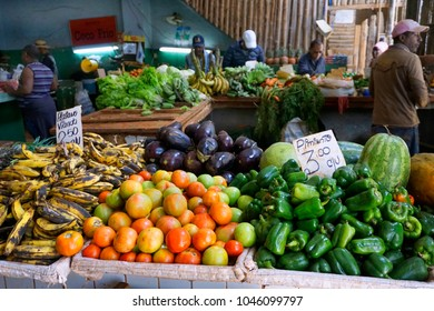 Havana Streets /Cuba - January 20,2018: People are shopping in the fruit and vegetable market at Havana, Cuba