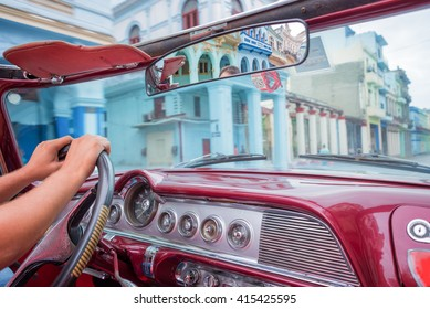 Havana, view from inside an old vintage classic american car, Cuba