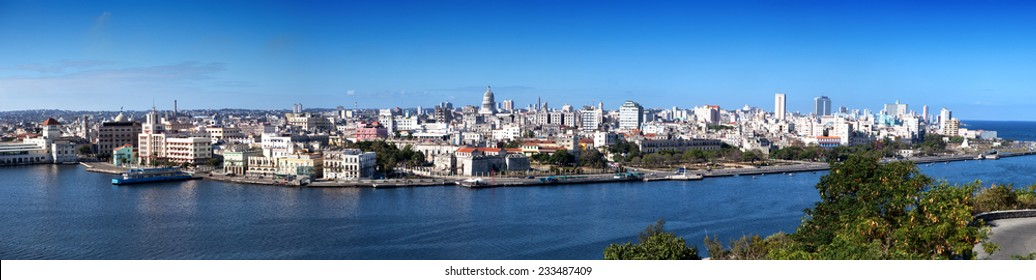 Havana. View of the old city through a bay from Morro's fortress