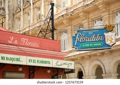 HAVANA-CUBA- DEC 5, 2018:  El Floridita in 1914, this bar and restaurant in Havana Cuba became world-known thanks to author Ernest Hemingway, who was a regular costumer.