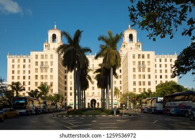 HAVANA-CUBA- DEC 6, 2018:  The Hotel Nacional de Cuba is a historic hotel located on the Malec—n in the middle of Vedado, Havana, Cuba.