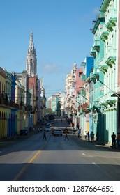 HAVANA-CUBA- DEC 9, 2018: Popular street in Havana in Cuba with coloured building and neo colonial architecture