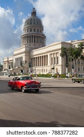Havana,Cuba - January 22,2017: National Capitol Building in Havana, Cuba, was the seat of government in Cuba until after the Cuban Revolution in 1959, and is now home to the Cuban Academy of Sciences.