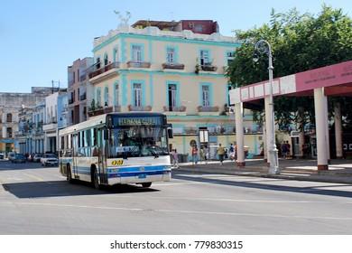 Havana,Cuba - July, 2014, Bus transportation at Havana city