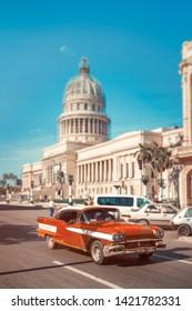 HAVANA,CUBA- JUNE 10,2019 :Antique car next to the Capitol in Old Havana