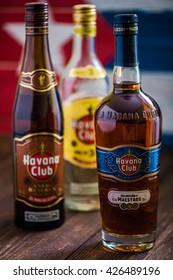 Havana,Cuba - May 23, 2016: Bottle of Havana Club rum. Established in 1878 in  Cuba, Havana Club is the world's No.3 international rum brand.Authentic Cuban rum perfect for Mojito and Daiquiri .